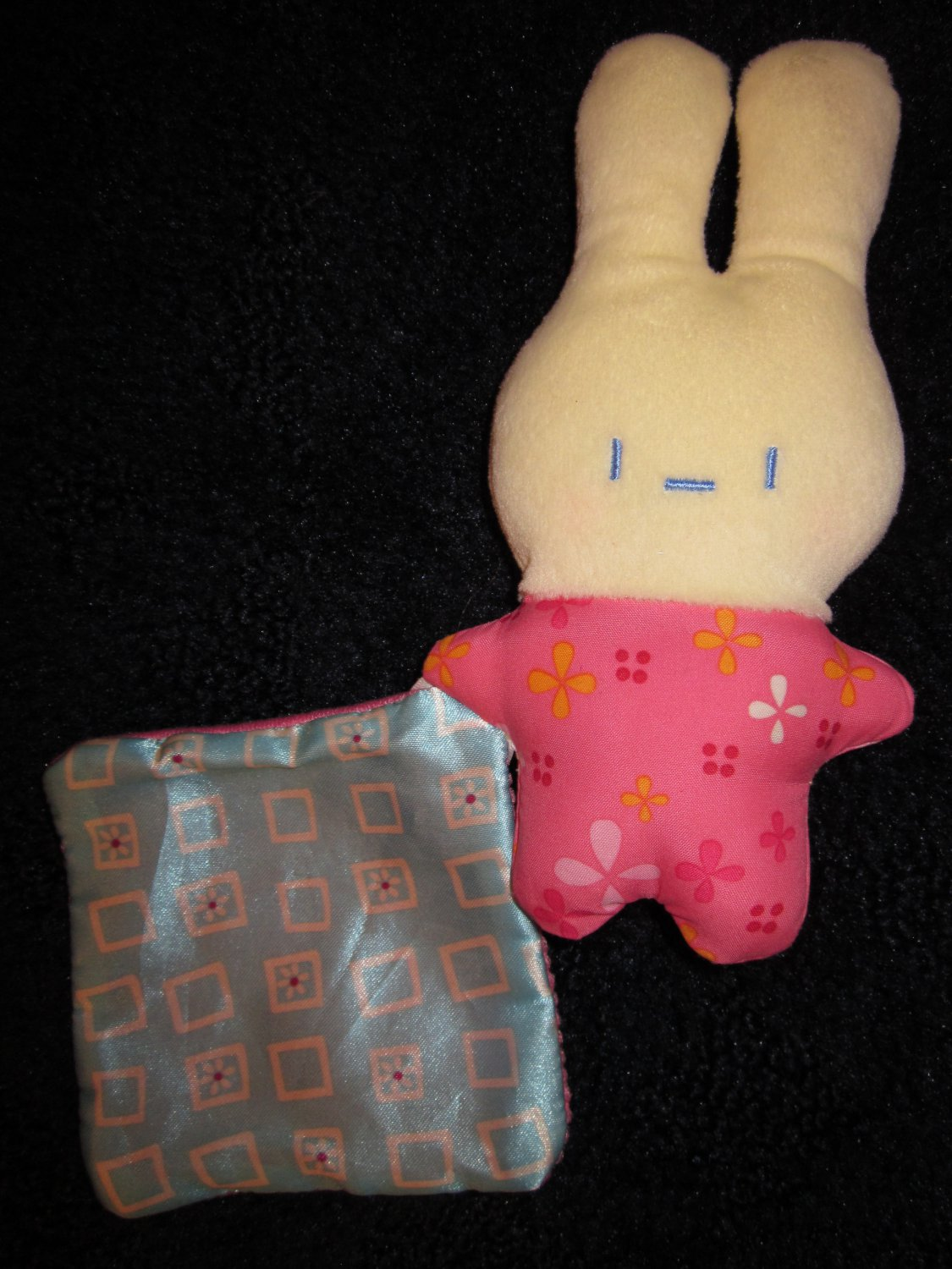 Fisher Price Small Girl Bunny Rabbit Plush Rattle with Security Blanket Lovey