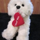 Russ Berrie Bishon Frise White Puppy Dog named Muffin with Heart I Woof You 23343