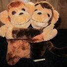 "Vintage 7"" Plush Hugging Monkeys made in Korea"