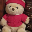 Vintage 1987 R. Dakin Plush Teddy Bear with red Sweater and Cap