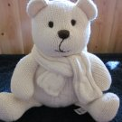 baby Gap Creamy White Knit Teddy Bear wearing a Scarf