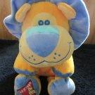 "Dakin Plush Yellow Orange Lion Blue Mane 13"" head to toe"