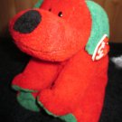 Ty Pluffies Red Plush Dog named Jingles 2006 with heart tag