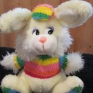 Vintage Mary Meyer Cream colored  Bunny Rabbit with Rainbow shirt hat feet