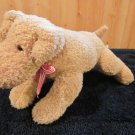 Russ Berrie Plush Tan Puppy Dog with Red White Striped ribbon Item#185