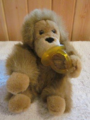 Russ Berrie Plush Monkey Chimp Ape named Ku-Ku Holds a pacifier  #685