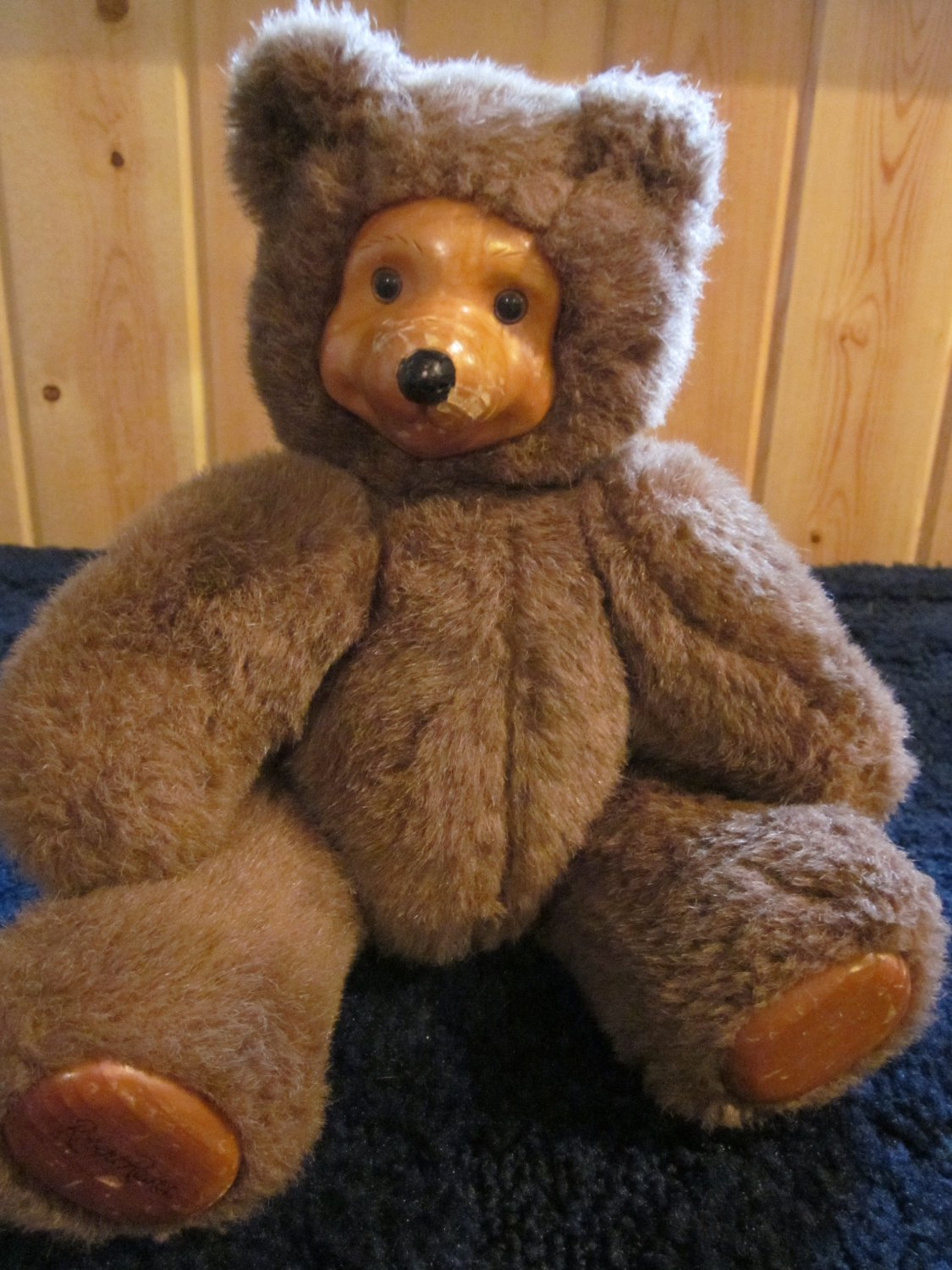 Applause 1988 Robert Raikes Wood Face Plush Brown Bear