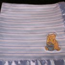 Classic Winnie the Pooh Blue striped Security Blanket with Pooh honey pot