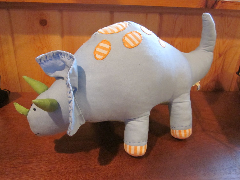 PBK Pottery Barn Kids Plush Blue Triceratops Dinosaur