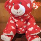 Ty Pluffies Red Bear with white hearts Plush Toy named Dreamly with tags
