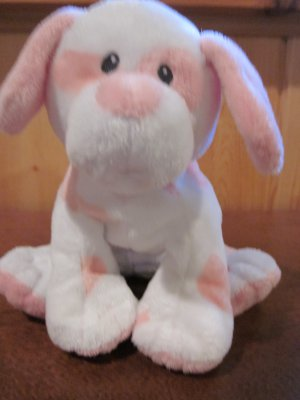 Ty Pluffies White Dog with Pink Hearts named Baby Pups Pink