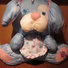 Fisher Price Blue Puppy Puffalump with bow and bib