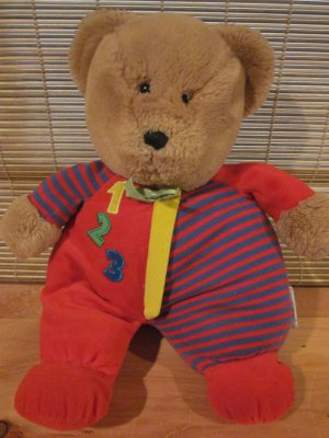 Eden Plush Bear Primary colors  Tan Bear black nose red 1 2 3 and stripes