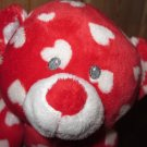 Ty Pluffies Red Bear with white hearts Plush Toy named Dreamly