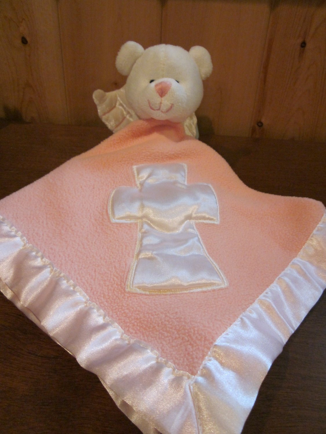 baby boom pink security blanket white bear angel musical jesus loves me babyboom. Black Bedroom Furniture Sets. Home Design Ideas