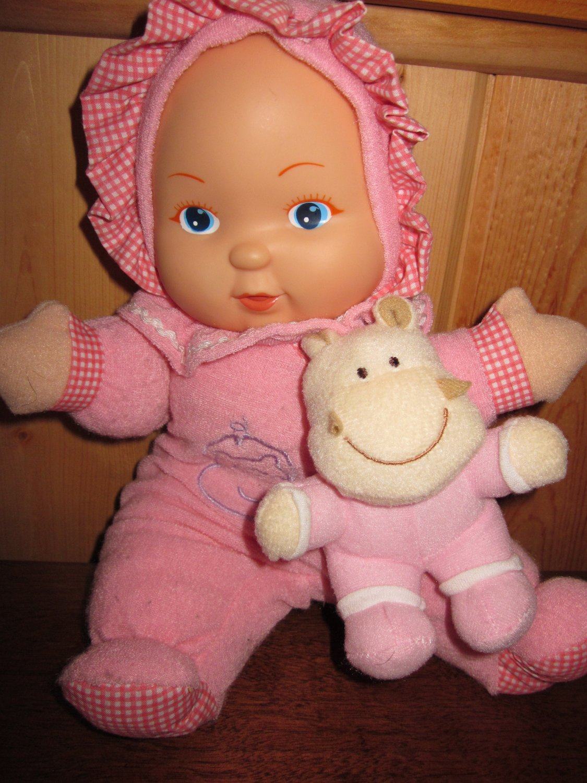 Gi-G0 Toys Plush Pink Dol Holding a small Plush Hippo