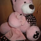 KellyToy Handcrafted Powder Pink Plush Bear trimmed in brown with pink dots