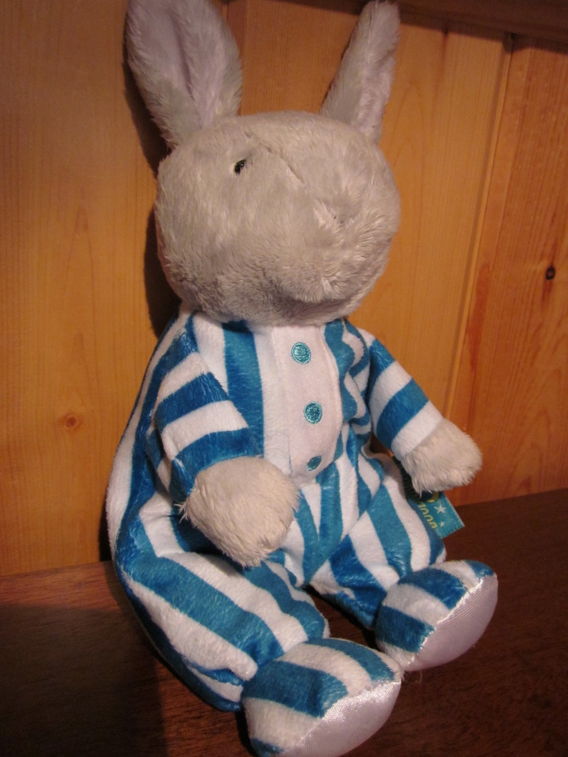 From the Book Good Night Moon Plush Bunny Rabbit in striped Pajamas 1991 by Kids Preferred