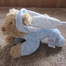baby Gund Tan Bear in Blue Paisley Pajamas Plush Rattle
