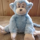 baby Gan Blue Plush Monkey sewn facial features Plush Rattle