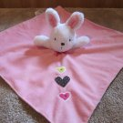 Just One you pink Security Blanket with white rabbit and three hearts