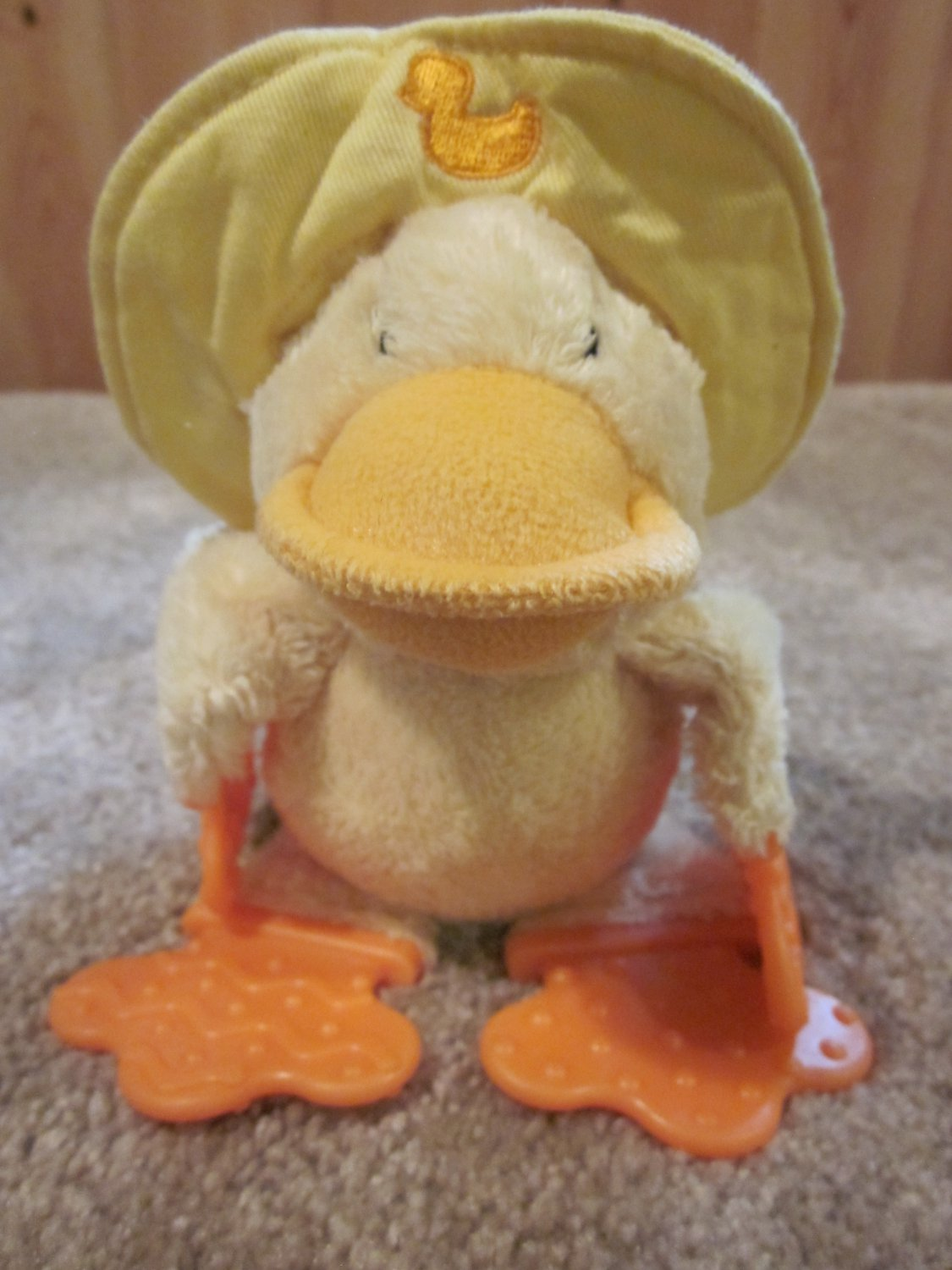 Bright Starts Kids II Plush Yellow Duck Teether and Rattle