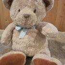 Carters Plush Tan Bear Blue checkered bow rust brown feet #5146 Just one year
