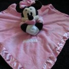 "Disney Pink Plush Minnie Mouse Security Blanket Lovey ""Minnie"" on front"
