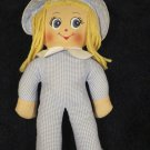 Blue White Gingham Cloth Doll Made In British Hong Kong
