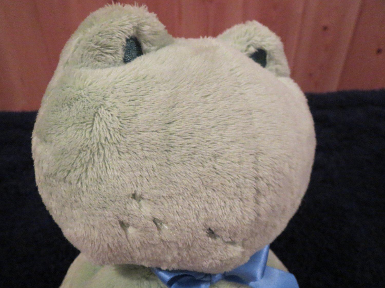 Carters Plush Green Croaking Frog Blue ribbon