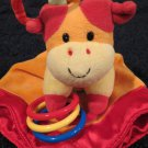 Prestige Baby Plush Orange cow Lovey Security Blanket Toy