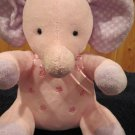 Carters Just One Year Plush Pink Musical Elephant flowers lavender ears feet