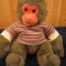 Princess Soft Toys Gray- Brown Monkey Gray Feet Striped Shirt Snow Monkey