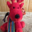 New Russ Berrie Red Deer Reindeer Plush Toy Striped Scarf