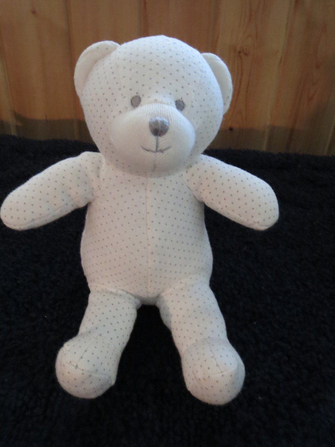 Old Navy White Knit Teddy Bear With Gray Dots Plush Rattle