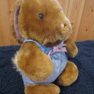 Vintage Animal Fair Plush Brown Rabbit in Blue outfit