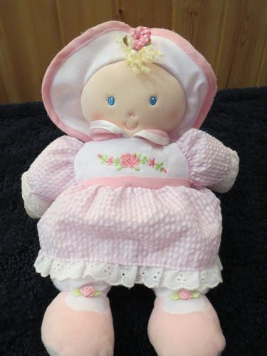 Kids Preferred Plush Pink Doll in Seersucker and roses Lovey