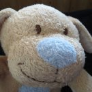 """TY 8"""" Tan dog Blue nose heart Named Huggypup Plush toy"""