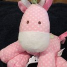 Just One Year Pink Giraffe Musical Crib Toy with white dots plays Rock a bye baby