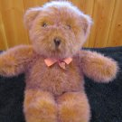 Unique Plush Creations Furry Mauve Tan Bear pink ribbon Vintage 1992