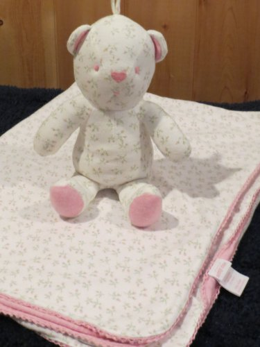 Amy Coe Limited edition Rosebud White Pink Flower Baby Blanket matching plush bear