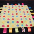 Taggies Fleece Security Blanket Lovey red, blue, purple and yellow dots
