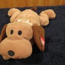 Ty Pillow Pals Tan Dog Brown ears and tail Named Woof Retired 1994
