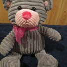 Walmart Grey ribbed plush Bear pink nose ears bow
