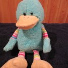 "Animal Adventure 8-9"" Aqua Blue Green Plush Duck Lovey striped legs arms"