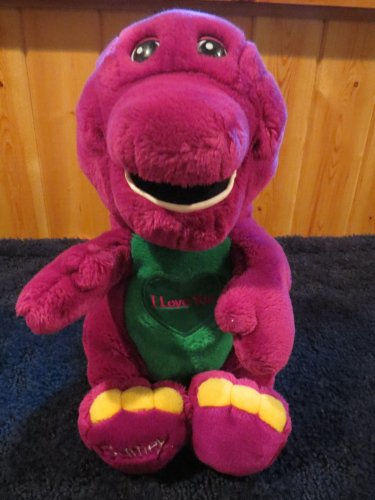 "Plush Singing 16"" Barney The Happy Dinosaur with Heart and I Love You"