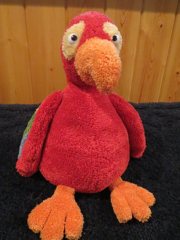 "Pottery Barn Kids PBK 11"" Plush Parrot bird Red green yellow orange"