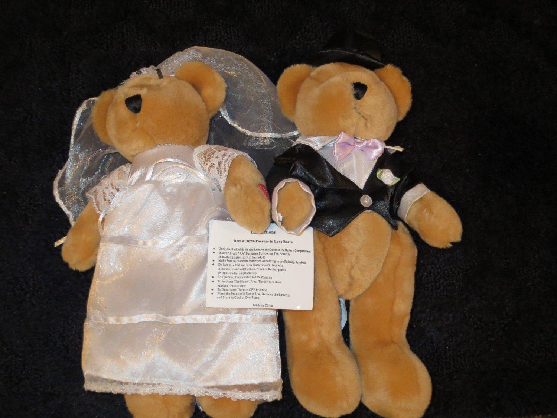 WMG Elk Grove Village 13029 Plush Wedding Forever in Love Bride Groom Bears Musical