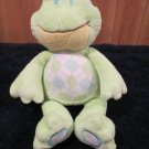 Baby Ganz Green Plush Rattle Frog with Argyle tummy spots