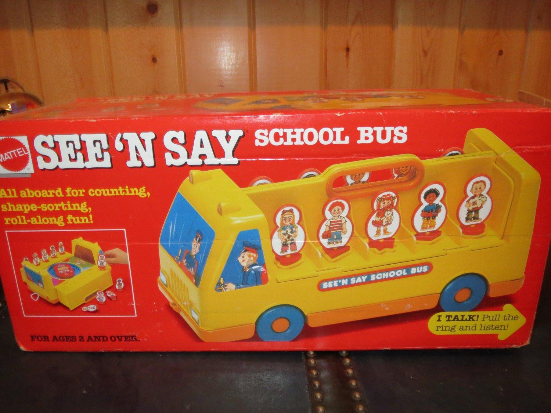 Vintage 1989 Disney Mattel See N Say School Bus in original box